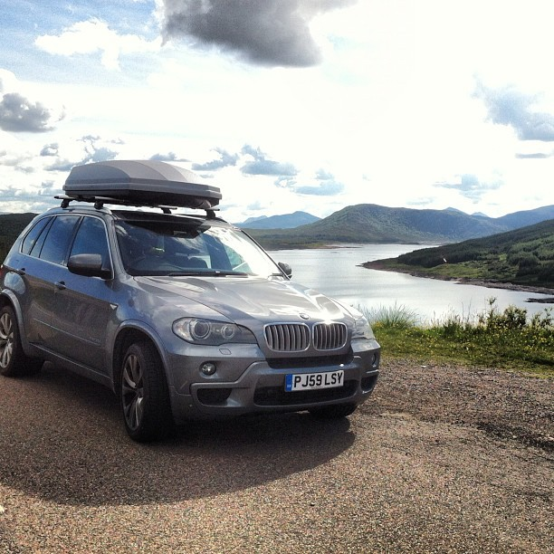Helga the Destroyer! @bmw #bmw #x5 #blue #water #nature #scottish #highlands #landscape #view #clouds #sky #lake #loch #mountains #suv #4x4  (Taken with Instagram at Loch Loyne)