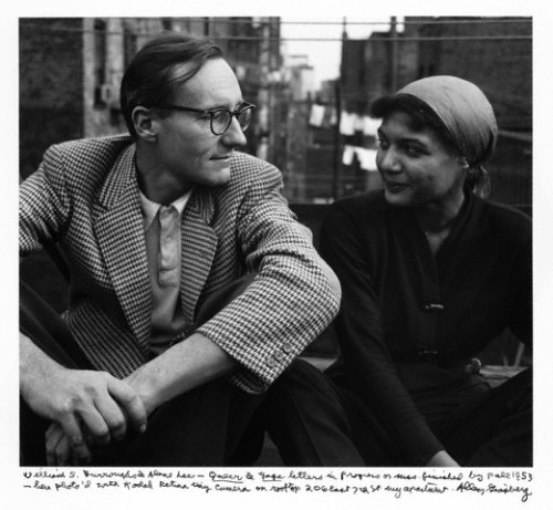 nnnnaaammmm:  3rdplanet: William S. Burroughs & Alene Lee (Mardou in The Subterraneans) talking on the roof of Allen Ginsberg's apartment building in New York City in 1953.