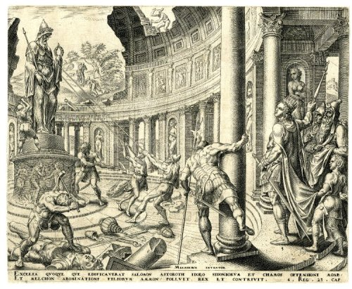 The destruction of the Temple of Ashtoreth Print made by Philips GalleAfter Maarten van HeemskerckDate1569 (circa) the British Museum