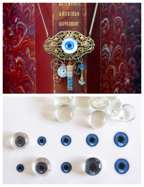truebluemeandyou:  DIY Glass Eyeball Tutorial on the Cheap Tutorial by Cathe Holden from Craftzine here. The key is cheap flat backed gems (Dollar Store, Michaels, etc…) and eyeballs you can print out at the link. *I also posted DIY Eyeball Tableware with really cool eyeball clipart from Martha Stewart here.