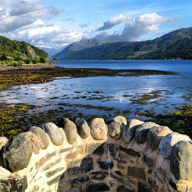 Loch Duich from Eilan Donan Castle #clouds #rural #nature #highlands #scottish #scotland #view #seaside #water #clouds #sky #lake #loch #lochduich #hebrides #water #nofilter (Taken with Instagram at Loch Duich)