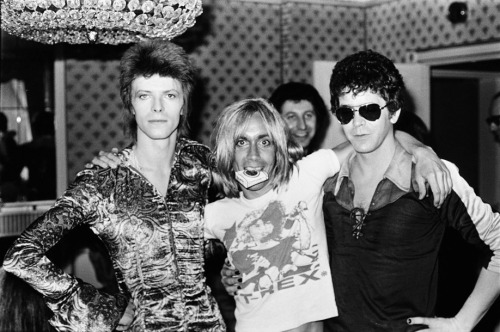 you-and-oblivion:  David Bowie, Iggy Pop, and Lou Reed.  Photo by Mick Rock.  Note Iggy's T-Rex shirt.