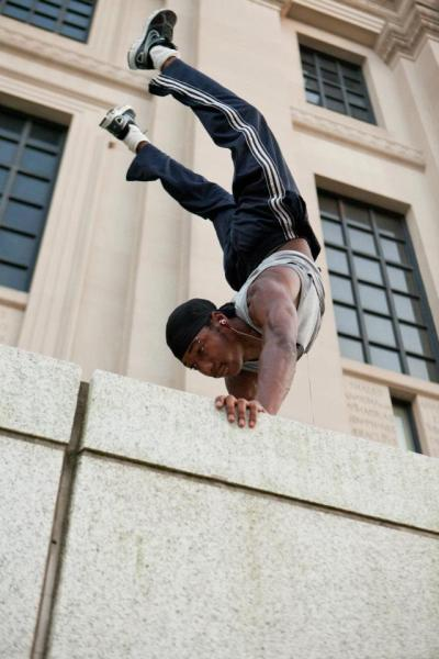 Ninja doing a trademark handstand this weekend at the Brooklyn Museum. (Courtesy of Molly Cichy)