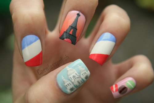Paris nail art on Flickr.My third design in my Big City series. This is Paris. I love it!www.coewlesspolish.wordpress.com