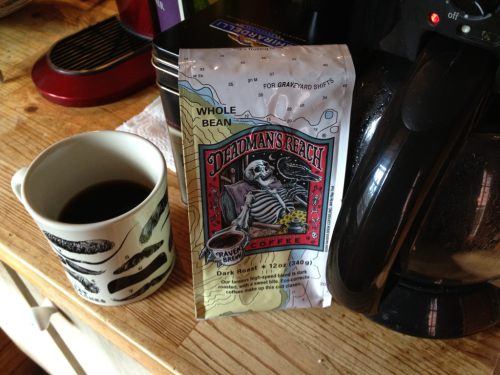 "This Deadman's Reach coffee, a ""high-speed roast"" brought back from Alaska by Maria, has been a lifesaver in the early days of parenthood sleeplessness!"