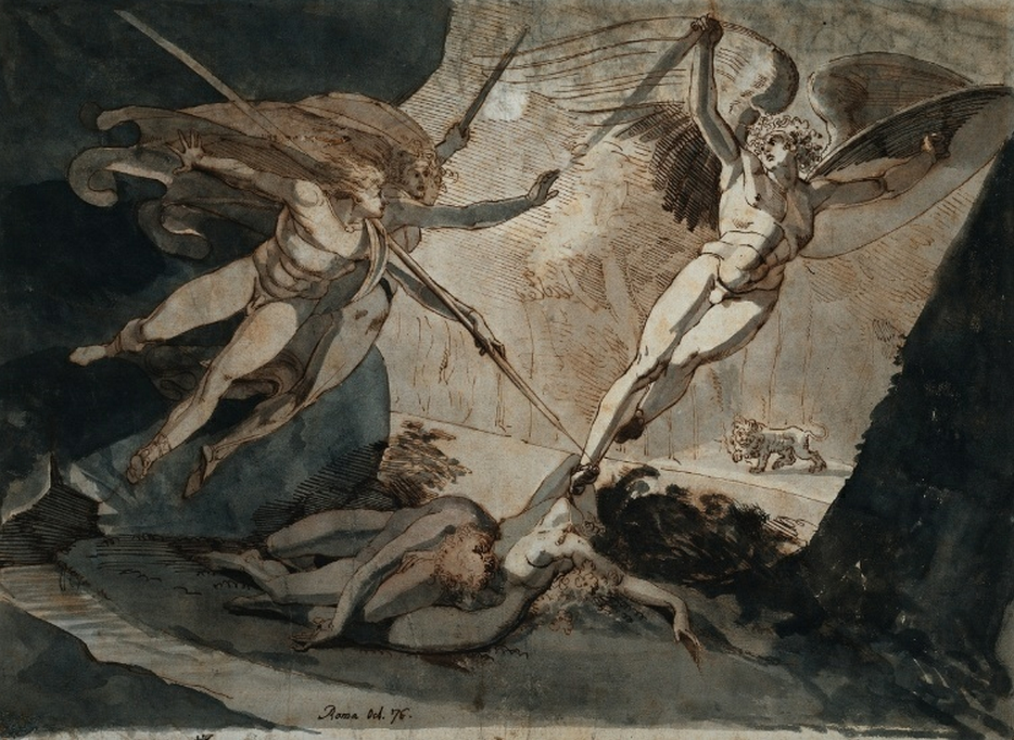 cavetocanvas:  John Henry Fuseli, Satan Starts from the Touch of Ithuriel's Spear, 1776 From the Cleveland Museum of Art:  Fuseli's lifelong interest in the work of the British poet John Milton (1608-1674) inspired many drawings that interpreted passages from Milton's epic poem Paradise Lost (1667). This early example illustrates the moment when the angels Ithuriel and Zephon discover Satan disguised as a toad in the bower where Adam and Eve lie sleeping. Ithuriel forces Satan to reveal himself by prodding him with a spear. The lion in the background alludes to an earlier passage in the poem, when Satan takes on the shape of the beast in order to spy on the couple.