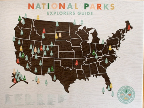 thelittlefrenchbullblog:   National Parks Checklist Map