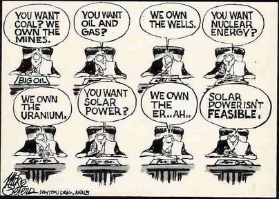 Climate Cartoon: A Big (Oil) Barrier to a Clean Energy Future…  (Source: Dayton Daily News via The Oil Drum) Related: 'The Great Carbon Bubble: Why the Fossil-Fuel Industry Fights So Hard' (Grist) 'Clean Energy Switch to Cost Fossil Industry $4 Trillion by 2020' (Clean Technica) 'Today, ALEC Hosts Legislators & Big Oil — Topic? Undermining Clean Energy' (Clean Technica)  Memo: Group Wants To Create Fake Grassroots Wind 'Subversion' Campaign That 'Should Appear As A Groundswell' (Climate Progress)
