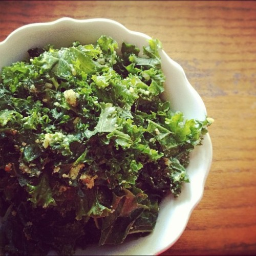 Kale salad with mint & almond pesto. #meatlessmonday (Taken with Instagram)