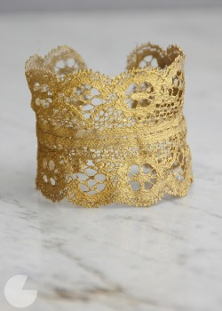 Another fun weekend project.. DIY Gold Lace Cuff Tutorial by Runway DIY