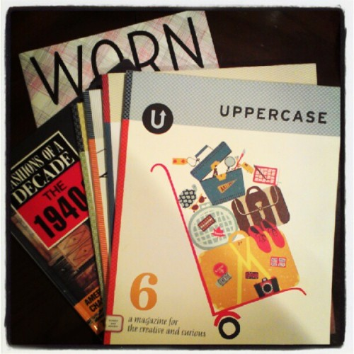 Best street find ever! 4 copies of uppercase and worn and six vintage fashion books! (Taken with Instagram)
