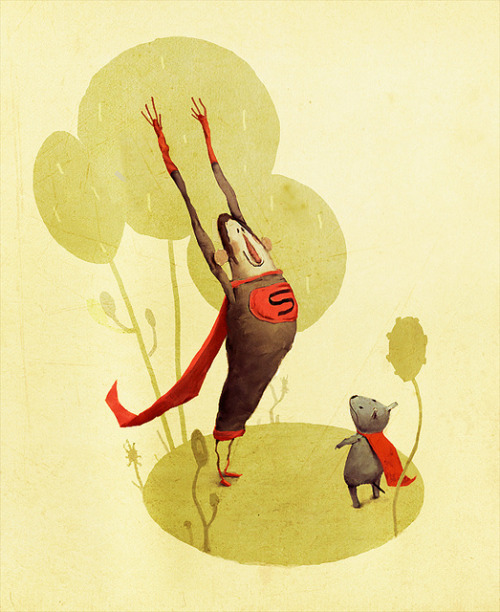 Up, up and… Superman illustrated by Marc Chevry :: via marcchevry