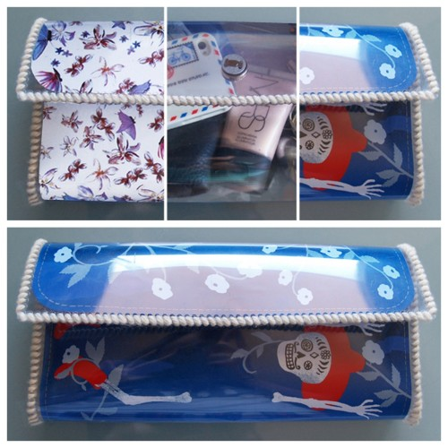 truebluemeandyou: DIY Plastic Purse Tutorial. Reblogging because this is a smaller size than I've been seeing and it is meant to be able to fit the Hermes Jige Clutch Free Printables in it. Machine stitch it if you want it to go really fast.  DIY Interchangeable Plastic Purse Tutorial from Dare to DIY here. What she's done is really clever because you can cut and fit the Hermes Jige Clutch free paper printables into the plastic clutch (I posted about the easiest way to download the six patterns here) I mentioned in another post that I have literally made thousands of these (with more tips on making plastic accessories here), and you can machine stitch the edges, use velcro as the closure, and get the plastic at fabric stores.