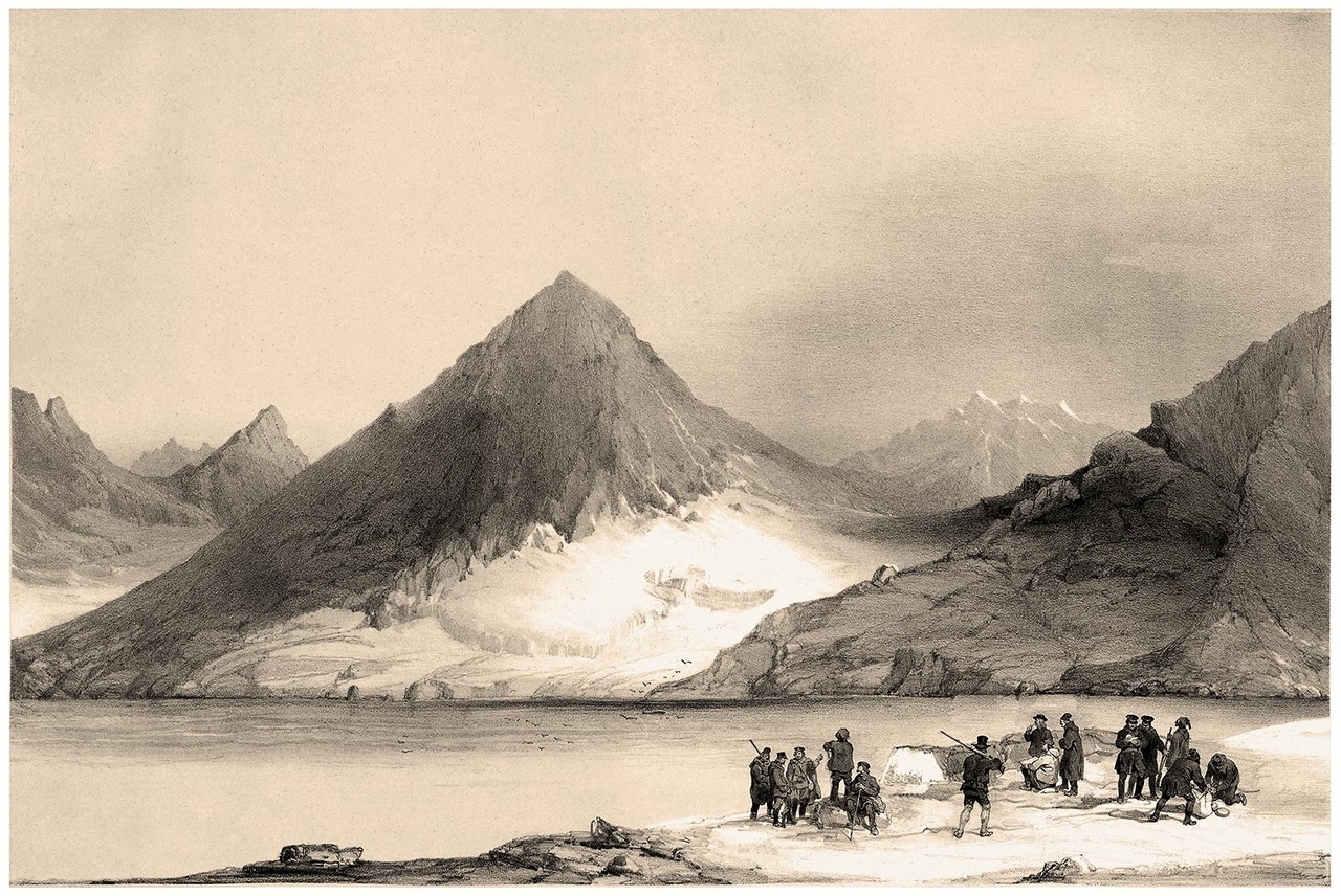 oldbookillustrations:  Panoramic view of Magdalena Bay, Spitsbergen (Norway). Barthélemy (?) Lauvergne, from Voyages en Scandinavie, en Laponie, au Spitzberg et aux Feröe (Travels to Scandinavia, Lapland, Spitsbergen and the Faroe Islands), under the direction of Paul Gaimard, volume of plates, Paris, 1852. (Source: archive.org)