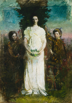 "Abbott Handerson Thayer My Children (Mary, Gerald, and Gladys Thayer) 1897 Oil on canvas 86 1/4 x 61 1/8 in. Smithsonian American Art Museum ___ Abbott Handerson Thayer, known for his paintings of angels, often used his children as models. Referring to My Children, Thayer wrote of his aim to show ""three blissfully exalted children"" in a way that ""puts beauty to the eye first, and the idea last."" Americanart.si.edu"