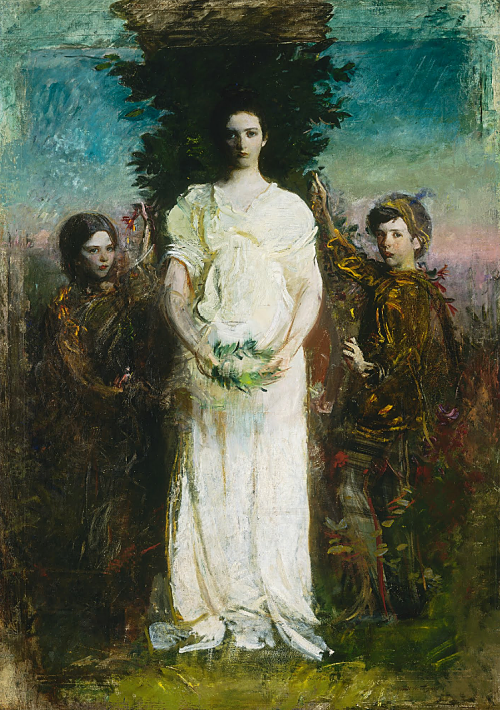 "welovepaintings:  Abbott Handerson Thayer My Children (Mary, Gerald, and Gladys Thayer) 1897 Oil on canvas 86 1/4 x 61 1/8 in. Smithsonian American Art Museum ___ Abbott Handerson Thayer, known for his paintings of angels, often used his children as models. Referring to My Children, Thayer wrote of his aim to show ""three blissfully exalted children"" in a way that ""puts beauty to the eye first, and the idea last."" Americanart.si.edu"