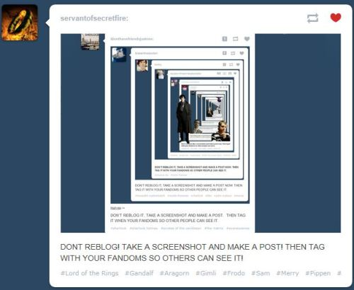 DON'T REBLOG! TAKE A SCREENSHOT AND MAKE A POST! THEN TAG WITH YOUR FANDOMS SO OTHERS CAN SEE IT!