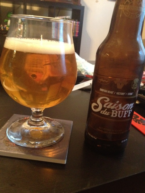 Stone Brewing | Saison du Buff | 6.8% ABV Saison BOOM! The third offering of Saison du Buff! This one's spice flavor is way more pronounced than the previous two. This is pretty good. If I had to rank them I would go 1. DFH 2. Stone 3. Victory. Tell me what you think!! Price: $2.99/12oz Rating: 7/10