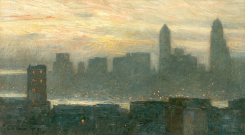 Manhattan's Misty Sunset by Childe Hassam