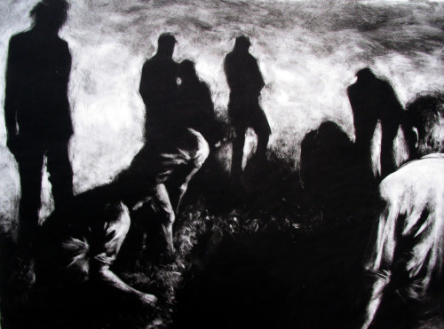"Evening, monotype, 24"" x 36"", 2004  Digging is an act which represents a wide range of topics, including excavation, history, burial, growth, and construction.  In this series of monotypes, I viewed digging as a metaphor for a search. Our compulsion to search and dig on both a literal and metaphorical level is a constant imperative which we experience daily. These searches occur on many levels, from short searches for material items to life long searches for desired states of mind. In these images, I aim to create a sense of ambiguity in the figures so that they could represent any of these themes. claralieu.tumblr.com www.claralieu.com www.claralieu.wordpress.com www.facebook.com/claralieu www.flickr.com/photos/claralieu www.twitter.com/claralieu www.pinterest.com/claradolly"