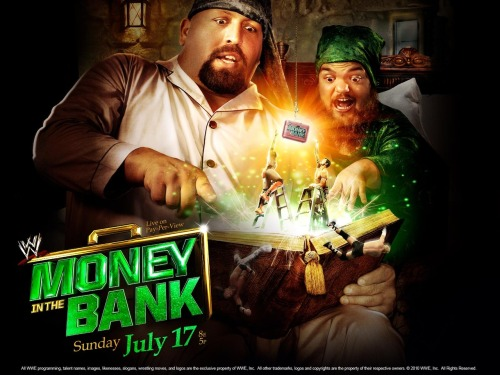 WWE Money in the Bank in Chicago, Illinois: July 17, 2011 The 2011 version of Money in the Bank featured the usual two ladder matches to determine title challengers, but the focus was on the main event: CM Punk challenging John Cena for the WWE  World Heavyweight Championship. Punk had threatened to leave the company with the championship should he win — and he kept his promise. More on that later this week. Even with such a marquee match up, the Money in the Bank poster featured the ridiculous bedtime story theme with Big Show and Hornswoggle. No wonder Big Show is an angry giant now. [[MORE]] Also on the card: Christian won the World Heavyweight Championship from Randy Orton. Alberto Del Rio won the Raw Money in the Bank match, defeating Rey Mysterio, Kofi Kingston, Alex Riley, Evan Bourne, The Miz, R-Truth, and Jack Swagger. Kelly Kelly defeated Brie Bella. Mark Henry beat the Big Show. Daniel Bryan won the SmackDown Money in the Bank ladder match, which featured Kane, Wade Barrett, Sheamus, Cody Rhodes, Justin Gabriel, Heath Slater, and Sin Cara.