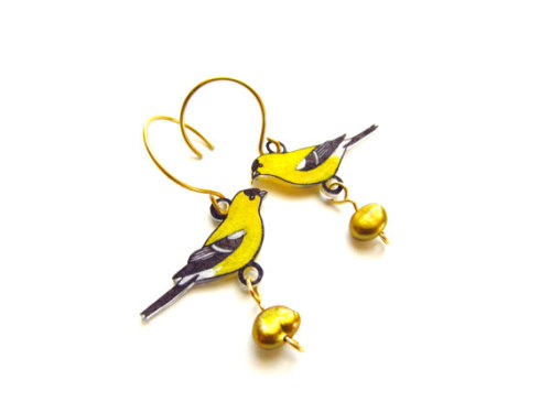 Goldfinch Earrings by Etsy Seller Emily Thomson