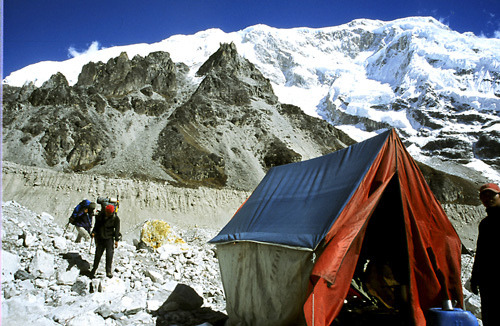 Camp on the glacier -enroute Base Camp, Kanchenjunga by sanjayausta on Flickr. Camping under the peak. Outdoor Sporting Goods