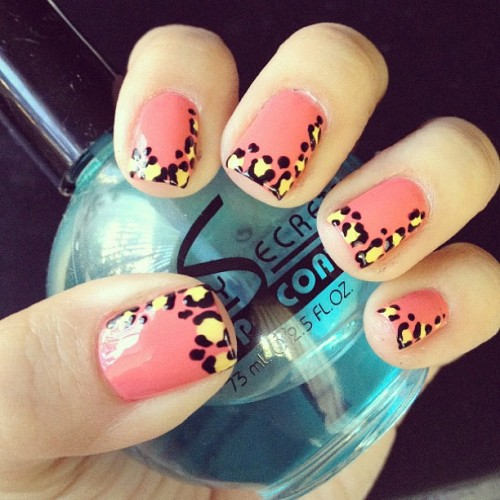 I call these #strawberry #lemonade #leopard #nails. (Taken with Instagram)