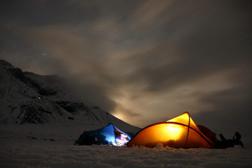 camping at Hlöðufell by tomaszchrapek on Flickr. Night time in the snowy mountains. Outdoor Sporting Goods