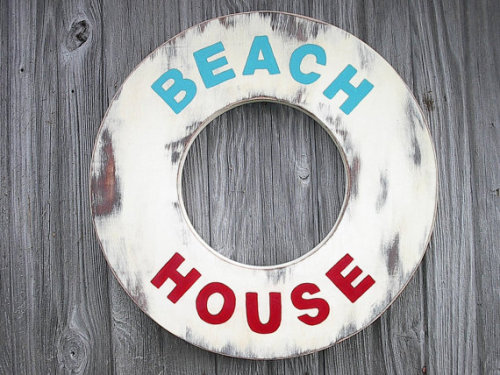 Wood Beach House Sign by CTheWritingOnTheWall on Etsy
