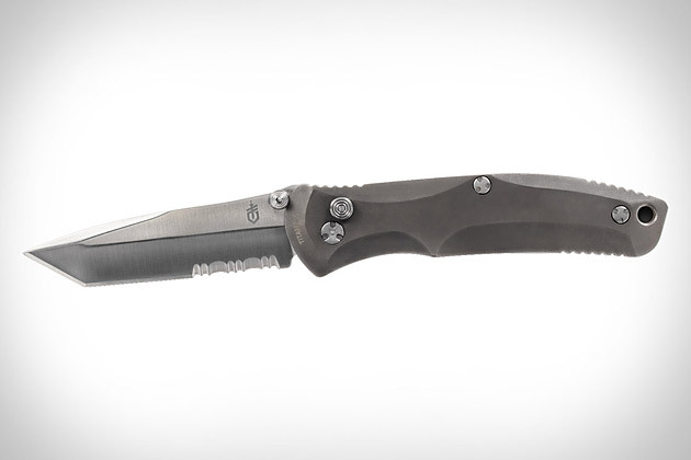Gerber Venture KnifeKnives don't need to do a bunch of different things to be useful — they just need to do one thing really well. The Gerber Venture Knife ($75) adheres to this mantra by limiting its design to a polished titanium handle and a three and a half inch serrated blade that's ready when you need it thanks to the Venture's FAST spring-assisted opening mechanism.