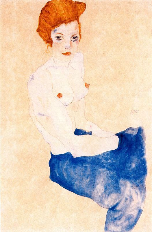 Seated Girl with Bare Torso and Light Blue Skirt, by Egon Schiele.