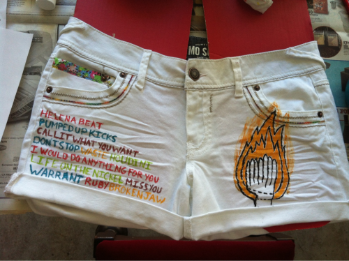 theambiguoussnail:  fosterkidwiththebrokenjaw:  got my shorts done for the concert :)  Love them!  Have fun at the show :)