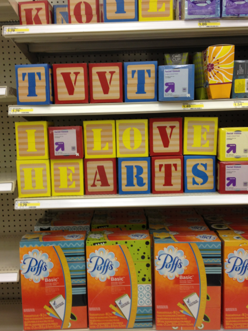I vandalized my local Target, but I did it with TVVT love. I would have spelled out tumblr, but alas, no u's!