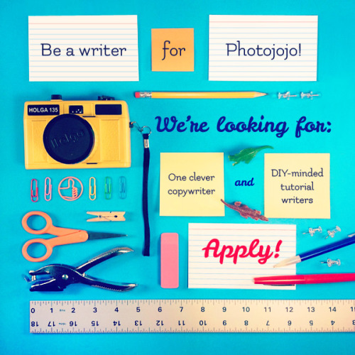 photojojo:  Win a $50 Gift Card to the Photojojo Store! We're hiring Tutorial Writers and a Copywriter to join our fun team of photography-lovers! We just know there are peeps out there in the Tumblr-sphere (maybe even you?) who'd be rad Photojojo writers. Help us find' em! Reblog this post *TODAY* to help us spread the word about our writer openings, and we'll pick a winner on 6/28!   Get after it!