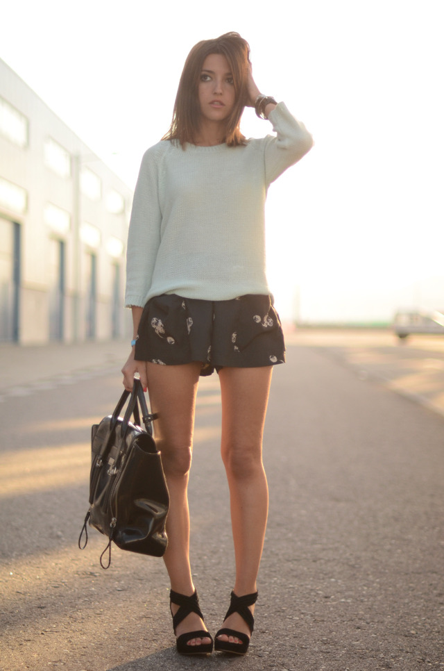 wedges: Lovely Pepa collection x Krack (s/s 12)shorts: Pepa Loves – Buylevard knit: Zara (s/s 12)bag: 3.1 Phillip Limwatch: Michael Korsbracelets: Marc by Marc Jacobs + La señorita (image: lovelypepa)