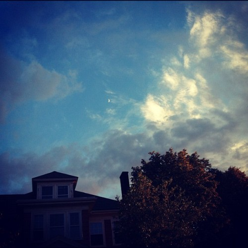 nightclubjitters:  Tiny moon #brighton #allston #sky #sunset #clouds #light #city #moon (Taken with Instagram)
