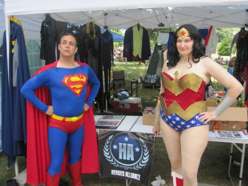 "geekeryandhockey:  Heroes Alliance Ohio were out at Comfest this weekend and we raised OVER $650 for the Make-a-Wish foundation! Big thank yous to everyone who came out, helped, enjoyed and especially to everyone who gave!For the past forty years in Columbus, Ohio, the Community Festival (affectionately titled Comfest) has been held in the area around Goodale Park – and this year the Heroes Alliance Ohio was overjoyed to be attending. Over the course of three hot days and nights, a team involving Superman, Batman, Green Lantern, Nightwing, Wonder Woman, Power Girl, Captain America, Reed Richards, Spider-Man – and even the villainous ladies of Gotham, Poison Ivy and Catwoman, all staffed a booth at the festival, where we accepted donations and sold donated books, toys, DVDs and comics, all to raise money for the Make-A-Wish Foundation.The Community Festival is a celebration of community, bringing together political activism groups, local artists and craftspeople, music, community health organizations and many, many other entities together. Although this was the first time they had superheroes in their midst, the attendees welcomed us with open arms – and when they heard that we were raising money for Make-A-Wish, they opened their pockets as well.By the end of the three days, a total of $668.04 was raised for Make-A-Wish. Hundreds of children and adults were given the chance to meet and take pictures with their superheroes, and as we wrapped up on Sunday night, we were an exhausted but very satisfied team.Comfest is a large, free, non-corporate, music and arts annual festival held each June in Columbus. The festival bills itself as ""The Party with a Purpose,"" and their statement of principles reflects a desire for people to live in harmony with the environment and one another. To learn more about Comfest, please visit http://comfest.com/.The Make-A-Wish Foundation is a non-profit organization that fulfills the wishes of children with life-threatening medical conditions to enrich the human experience with hope, strength and joy. To learn more about Make-A-Wish, please visit http://www.makeawishohio.org/"