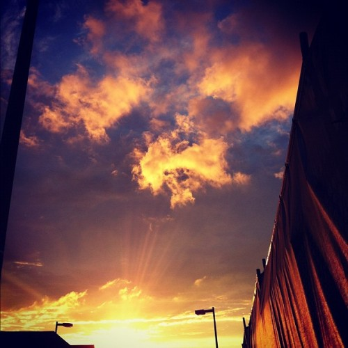 #blue #sky #light #city #clouds #sunset #allston #brighton #sun #orange #yellow #pink (Taken with Instagram)