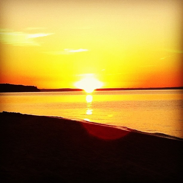 Setting sun.  (Taken with Instagram at Saxon Harbor)