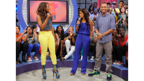 @thejessywilson in her #barbeebootz by #thesepinklips on #106andpark! THESEPINKLIPS.COM