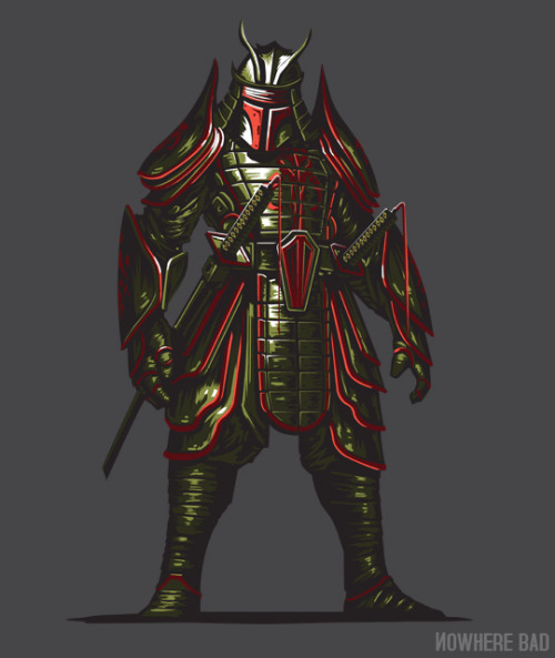 Samurai + Fett + shirt! it must be new tee time. Samurai Fett by Clinton Felker is on sale now for $12 / 3.5 days at www.nowherebad.com