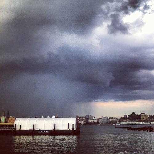 Where only part of #manhattan was #raining ! #fromwhereistand in #hoboken :) #newyork #nyc  (Taken with Instagram at Waterfront Walkway)