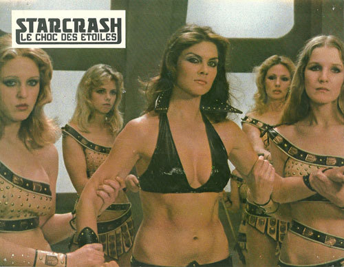 Caroline Munro and friends from STARCRASH (1980). Yeah, I never was that intrigued by Princess Leia. Sorry. Once again borrowed from Space: 1970. Clickthrough. Give 'em the hits.