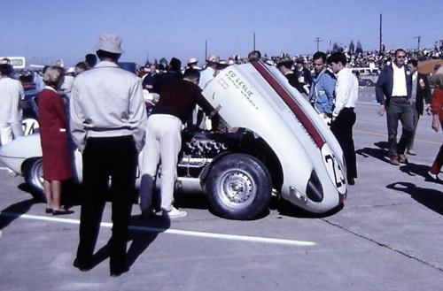 Jaguar XKE getting a final check on the grid prior to the start of the 1963 Sebring 12 Hours. The #23 Jaguar finished 7th overall and won its class driven by Ed Leslie and Frank Morrill. (via Sebring International Raceway)