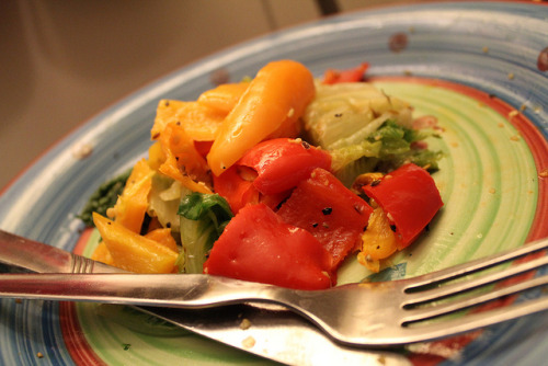 Grilled Romaine and Roasted Mini Bell Pepper Salad on Flickr.