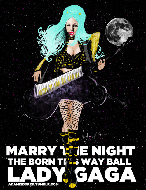 Marry The Night Born This Way Ball. I love her hair that light blue faded hue.