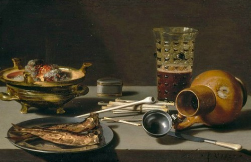 Pieter Claesz Still Life with Smoking Implements, Herring and Jug 1627