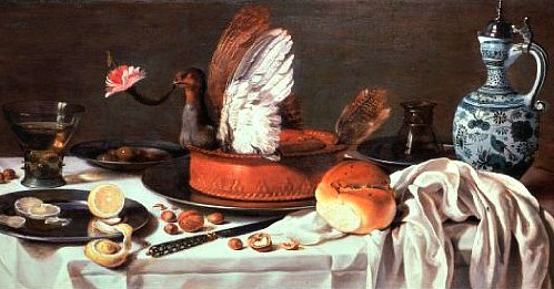 Pieter Claesz Still Life with Pigeon Pie and Delftware Jug 1626