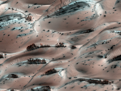 n-a-s-a:  Dark Sand Cascades on Mars  Credit: HiRISE, MRO, LPL (U. Arizona), NASA